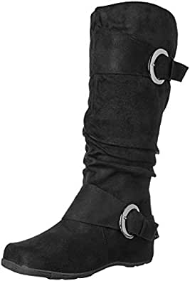 Brinley Co Women's Augusta 02 Slouch Boot, Black, 6 M US