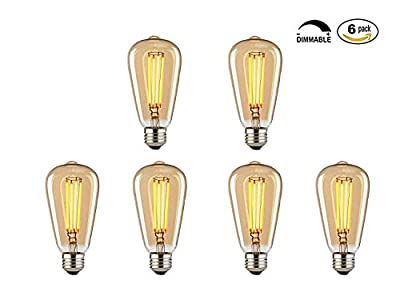 Vintage Edison Bulbs, 60w Dimmable Industrial Pendant Filament Light Bulbs with Vintage Antique Style Design for Pendant Lighting, Wall Sconces, Ceiling Fan and Chandeliers (Pack of 6)
