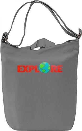 Explore The Globe Borsa Giornaliera Canvas Canvas Day Bag| 100% Premium Cotton Canvas| DTG Printing|