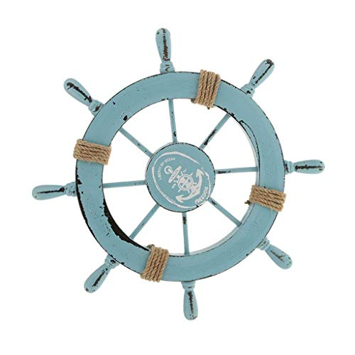 Elumaxon Ship Steering Wheel, Handcrafted Wooden Ship Wheel, Mediterranean Nautical Wooden Boat Ship Wheel Helm, Home Wall Party Decoration (Light Blue)