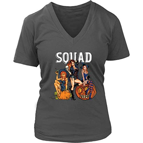 teelaunch Hocus Pocus Squad Women V-Neck Shirt Halloween Witch Costumes Plus Size XL-4XL -