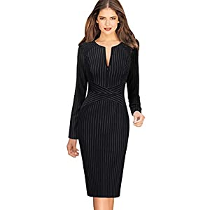 VFSHOW Womens Slim Zipper up Work Business Office Party Sheath Dress