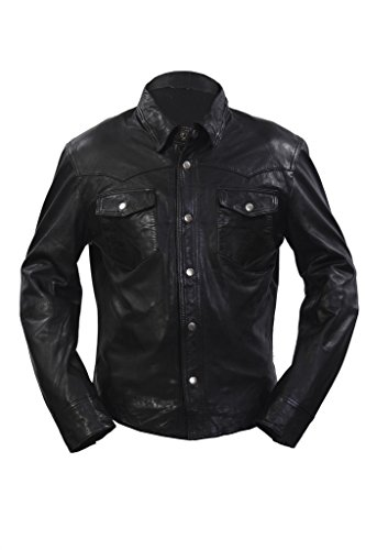 Mens Retro Denim Style Slim Fit Casual Black Leather Shirt Jeans Jacket L