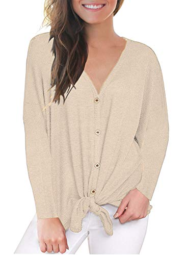 Fantastic Zone Womens Loose Blouse Long Sleeve V Neck Button Down T Shirts Tie Front Knot Casual Tops Beige M