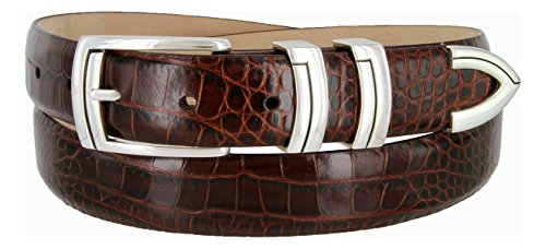 Calfskin Belt (Harbor Men's Italian Genuine Calfskin Leather Designer Dress Belt In Alligator Brown, Size)