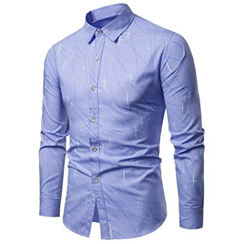 MIS1950s Men's Shirts Casual Print Long Sleeve Slim Fit Lapel Business Tops Blouse (Vests Jockey Mens)