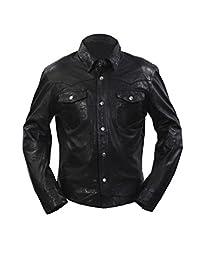 Men's Retro Denim Style Slim Fit Casual Black Leather Shirt Jeans Jacket