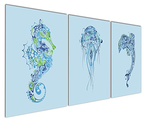 Gardenia Art - Animal World Series Hippocampus, Jellyfish and Dolphin Canvas Prints (Folk Art Fish)