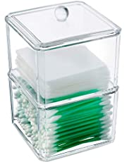 Kryllic Qtip Holder, Cotton Ball Swab Pad Dispenser Holder, Apothecary Jars. 2 Stackable Clear Container with Lid! - Clear Acrylic Apothecary Jar Vanity Countertop Organizer Jar For Qtips, Toothpicks, Cotton Pads Swabs Balls & Any Small Health Beauty Bathroom Accessories Storage! Compact Size Bathroom Organization! - Cotton Swab Q tip Holder Dispenser for Bathroom Cabinet and Over Toilet Storage! Under Sink Decor Organizers for Makeup!
