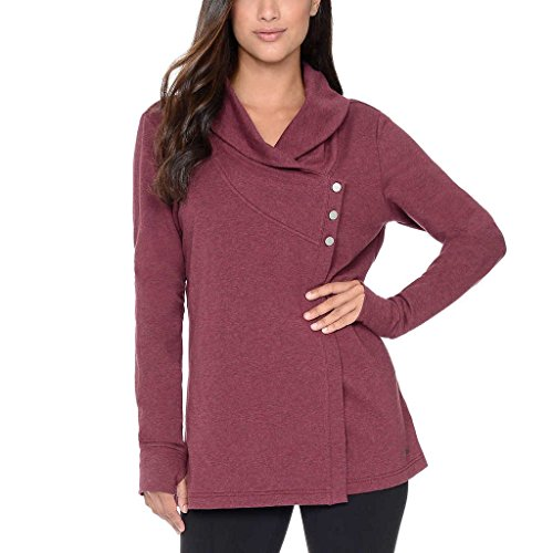 Danskin Ladies' French Terry Wrap Cardigan, Large, Red,Red,Large