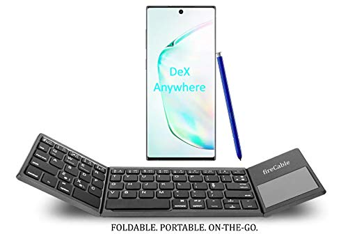 fireCable Full Size Foldable Pocket Keyboard and Touchpad Mouse (for DeX Station Galaxy Note 10 Note 9 & 8 S9 etc.) (Best Keyboard For Samsung Note 8)