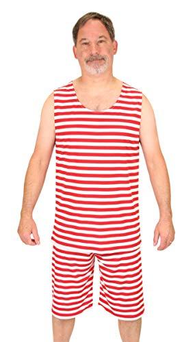 Historical Emporium Men's 1900s Striped Tank Bathing Suit S ()