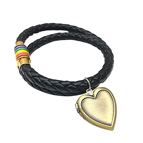 INRENG Leather Braided LGBT Rainbow Bracelet Stainless Steel Magnetic Bangle Gay & Lesbian Pride Openable Heart Charm 2 Layers Gold 17.7 Inch