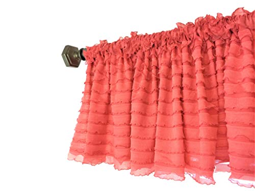 A Vision to Remember Coral Sheer Ruffle Valance Extra Wide Window Treatment