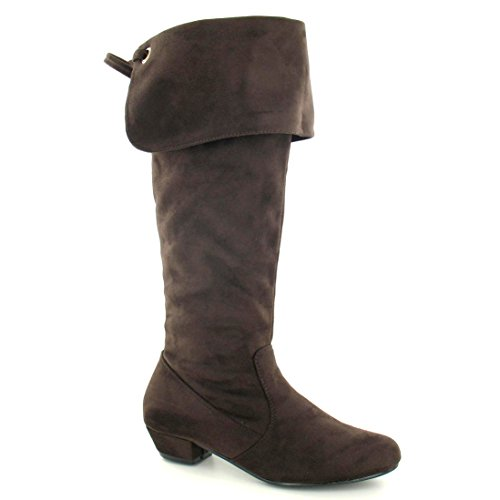 Boots Womens With Ladies Turn Spot On Cuff Brown Knee Over High qTf5aRw