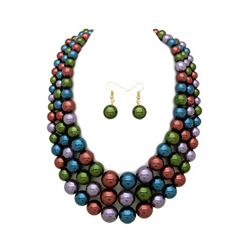 Women's Simulated Faux Three Multi-Strand Pearl Statement Necklace and Earrings Set (Dark Multi)