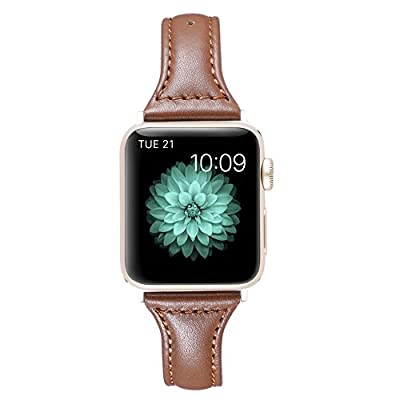 Karei Leather Bands for Apple Watch Band 38mm 42mm, Retro Top Grain Genuine Leather Replacement Strap with Stainless Steel Clasp for iWatch Series 3,Series 2,Series 1,Sport, Edition