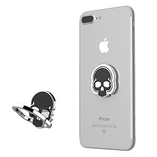 Price comparison product image Urberry Phone Ring Stand Holder, Skull Printed Adjustable Universal Smartphones Grip Kickstand Holder (Black)