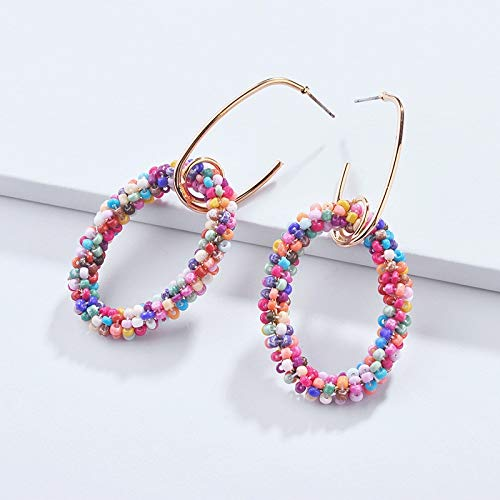 (2018 Gold Spiral Glint Twine Seed Beaded Marina Hoop Earrings for Women Trendy Bohemian Earrings Jewelry Wholesale)