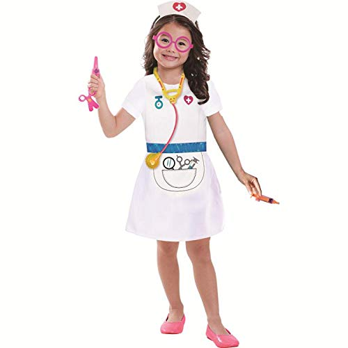 Wizland Child Role Play Dress Up Nurse Costume Playset for Kids,Doctor Nurse Medical Kits,7 pcs with Coat,Hat,Glasses,Stethoscope,Thermometer,Syringe,Scissors,for Age 3-6 -