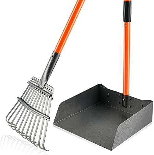 HITKYC Pooper Scooper for Large Dogs, Detachable Long Handle Bigger Dog Pooper Scooper with Stainless Metal Rake & Tray Sets, Durable and Solid, Easy to Use Poop Scooper for Large Medium Small Pets