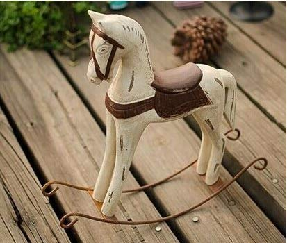 Amandaus Rocking Horse Statue Mediterranean Style Elegant Noble Wood Horse Sculpture Crafts for Home Office Table Decoration Ornaments Gifts (Accents Horse Rocking Home)