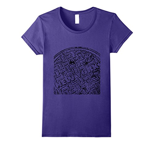 Womens Street Art Grunge Style Manhole Cover New York T Shirt Large Purple