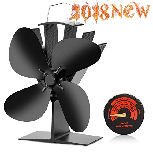 CWLAKON Heat Powered Stove Fan-2018 Upgrade Designed Silent Operation 4 Blades with Stove Thermometer for Wood/Log Burner/Fireplace-Eco Friendly and Efficient Heat Distribution(Black) (Heat Powered Fan For Wood Stove)