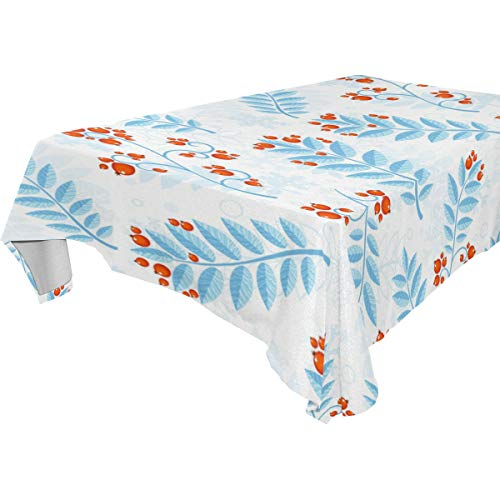My Little Nest Rectangle Tablecloth Winter Berry Blue Leaves Washable Fabric Table Cover for Picnic Party Kitchen Dining Decor 54x72 inch