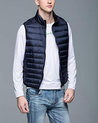 Breathable Men's Vest Fastener Lightweight Coat Solid Warm Winter Sleeveless Down Jacket Color Marine Jacket Comfortable Slim Vest Battercake wtBnWfqdw