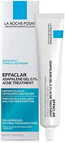 La Roche-Posay Effaclar Adapalene Gel 0.1% Acne Treatment, Prescription-Strength Topical Retinoid For Face, 1.6 Oz.