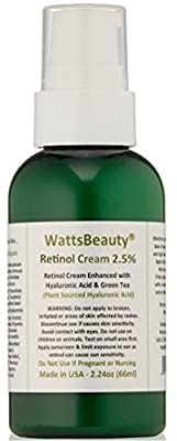 Watts Beauty 2.5% Retinol Cream - Anti Aging Retinol Enhanced with Hyaluronic Acid, Vitamin E & Phospholipids - Works Wonders on Large Pores, Blemishes, Uneven Skin Tone, Acne, Dull Skin & Aging Skin