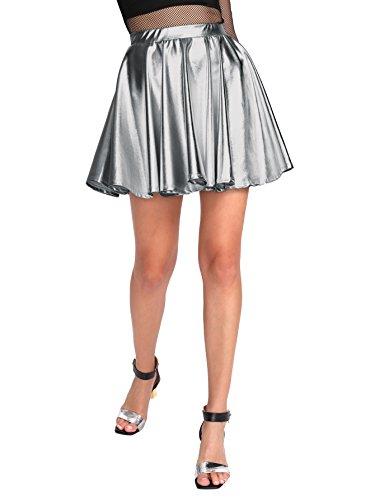 SweatyRocks Women's Disco Shiny Metallic Flare Skater Skirts Silver Grey XS from SweatyRocks