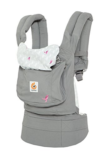 Ergobaby Original Award Winning Ergonomic Multi-Position Baby Carrier Susan G Komen Limited Edition Ribbons, Pink Grey