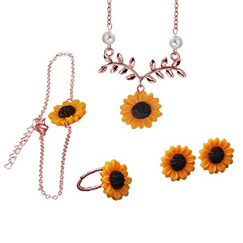 Tanwpn Trend Sunflower Pendant Leaves Four-Piece Bracelet Earrings Ring Pearl Chain Jewelry Gift (Rose Gold)