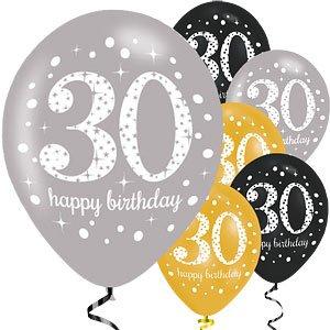 Feliz 30 cumpleaños oro mezcla chispeante fiesta globos 11 ...