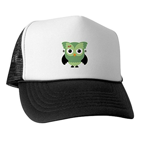 Truly Teague Trucker Hat (Baseball Cap) Spooky Little Owl Frankenstein Monster - Green and White]()