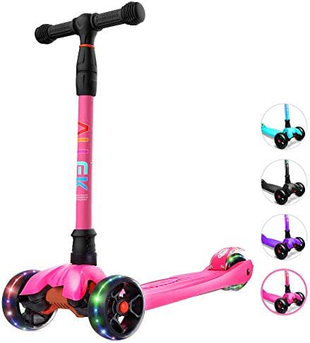 Allek Kick Scooter B02, Lean 'N Glide Scooter with Extra Wide PU Light-Up Wheels and 4 Adjustable Heights for Children from 3-14yrs (Rose Pink)