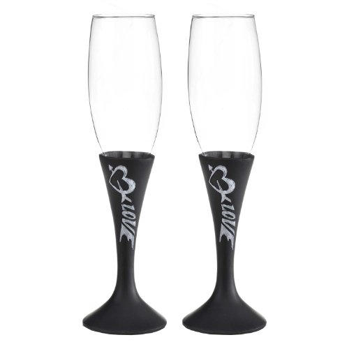 Hortense B. Hewitt Wedding Accessories Love Chalk Champagne Flutes, Set of 2