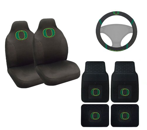A set of 7 Piece Automotive Gift Set: 2 Front and 2 Rear All Weather Floor Mats , 2 Front Seat Covers, and 1 Wheel Cover - University of Oregon Ducks -