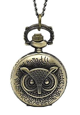 Souarts Antique Bronze Color Pocket Watch Owl Engraved