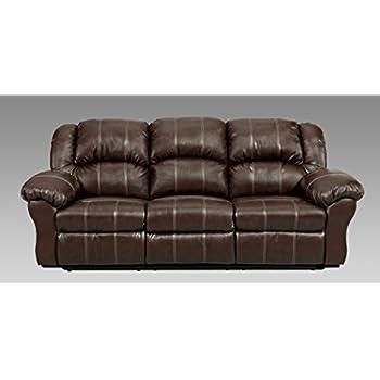 Roundhill Furniture Brandan Bonded Leather Dual Reclining Sofa Brown
