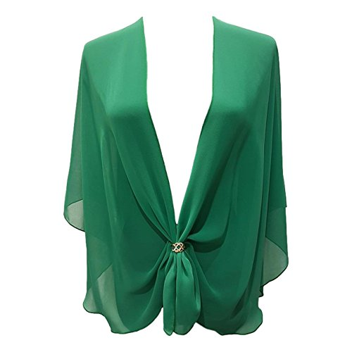 eXcaped Women's Sheer Chiffon Open Front Evening Shawl Wrap with Rose Gold Scarf Ring (Emerald)