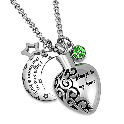YOUFENG Urn Necklaces for Ashes Aways in My Heart I Love You to The Moon and Back Ashes Holder Pendant Necklace (August Birthstone URN Necklace)
