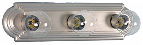 - HOMEnhancements- 3-Light Racetrack Vanity Light- Brushed Nickel Finish- Clear Glass- 5