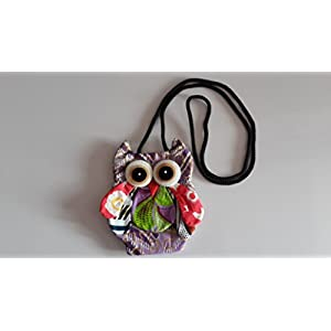 Thaienjoy - Bags Owl Eyes Coin Purse 14.5x15 cm. Color Purple