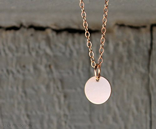 Delicate Disc Necklace • Personalized • Layering Necklace • Minimal • Dainty • Circle • Rose Gold Fill • Name Date Initial • Sterling Silver ()