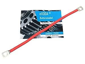 eXODA cable de bater/ía de 50cm 25 mm/² cobre cable de alimentaci/ón con ojales M8 rojo 12 V cable para autom/óvil tambi/én para su cargador