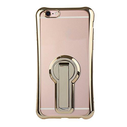 Funda iPhone 7 Silicona, Rosa Schleife Ultra delgado Cubierta de la caja del silicón de TPU Caso Carcasa cubrir con diseño de chapado de la contraportada Función de Soporte Funda de Móvil para el iPho Edge Plating - Oro