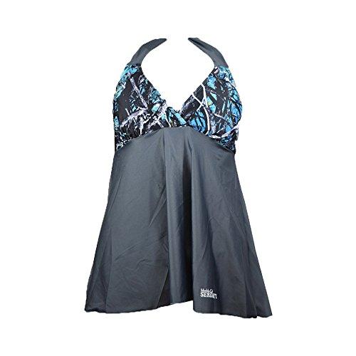Muddy Girl Camo Women's Serenity Camo Swimwear Tankini Top, Turquoise, - Tankini Camouflage